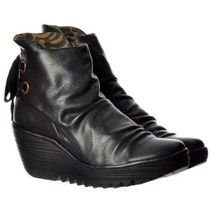 FLY London Yama Black Leather Wedge Ankle Boots 40
